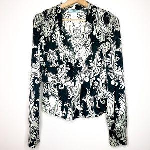 Marciano black and white silk corset blouse Medium